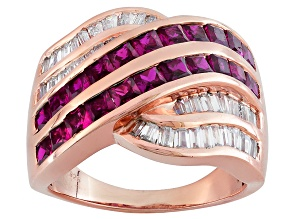 Pre-Owned Red Lab Created Ruby And White Cubic Zirconia 18k Rose Gold Over Silver Ring 3.84ctw