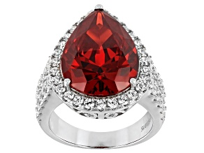 Pre-Owned Red And White Cubic Zirconia Rhodium Over Sterling Silver Ring 22.01ctw