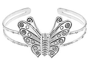 Pre-Owned Sterling Silver Butterfly Cuff Bracelet