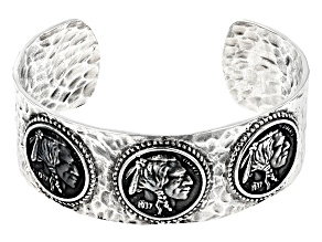 Pre-Owned Sterling Silver Coin Cuff Bracelet