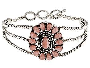 Pre-Owned Pink Rhodochrosite Sterling Silver Bracelet
