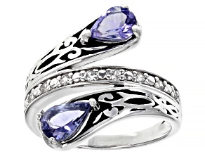 Pre-Owned Blue Tanzanite Rhodium Over Sterling Silver Bypass Ring 1.34ctw
