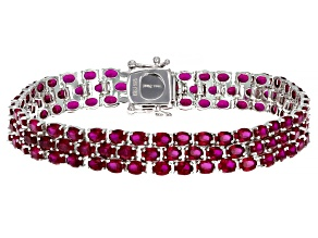 Pre-Owned Lab Created Ruby Rhodium Over Sterling Silver Bracelet 22.87ctw