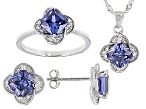 Pre-Owned Blue And White Cubic Zirconia Rhodium Over Sterling Silver Jewelry Set 6.13ctw