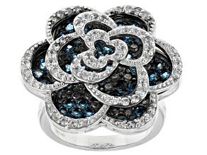 Pre-Owned London Blue Topaz Sterling Silver Floral Ring 2.74ctw