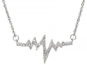 Pre-Owned White Diamond Rhodium Over Sterling Silver Heartbeat Necklace 0.38ctw