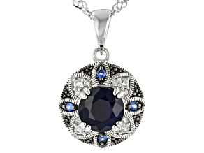 Pre-Owned Blue Sapphire Rhodium Over Sterling Silver Pendant with Chain 1.66ctw