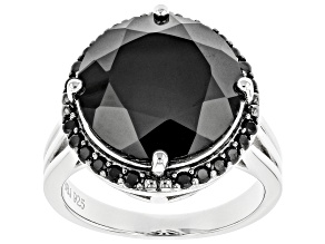 Pre-Owned Black Spinel Rhodium Over Sterling Silver Ring 9.58ctw