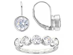 Pre-Owned White Cubic Zirconia Rhodium Over Sterling Silver Ring And Earrings 6.49ctw