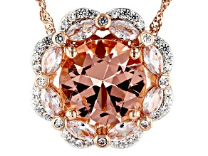 Pre-Owned Pink Morganite Simulant And White Cubic Zirconia 18K Rose Gold Over Silver Pendant With Ch
