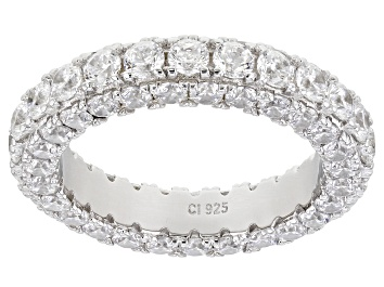 Picture of Pre-Owned Bella Luce ® 4.62ctw White Cubic Zirconia Rhodium Over Sterling Silver Eternity Ring