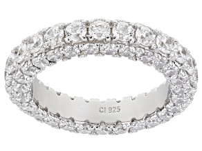 Pre-Owned Bella Luce ® 4.62ctw White Cubic Zirconia Rhodium Over Sterling Silver Eternity Ring