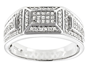 Pre-Owned White Diamond 10K White Gold Mens Ring 0.50ctw