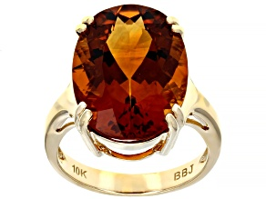 Pre-Owned Orange Madeira Citrine 10k Yellow Gold Ring 9.56ct