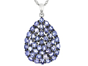 Pre-Owned Blue Tanzanite Rhodium Over Sterling Silver Pendant With Chain