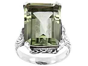 Pre-Owned Green Prasiolite  Rhodium Over Sterling Silver Ring 10.00ctw