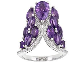 Pre-Owned Purple Amethyst Rhodium Over Silver Ring 3.70ctw