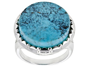 Pre-Owned Kingman Turquoise Sterling Silver Disc Ring