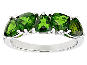 Pre-Owned Green Trillion Chrome Diopside Rhodium Over Sterling Silver 5-stone Ring 2.25ctw