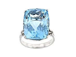 Pre-Owned Sky Blue Topaz Rhodium Over Sterling Silver Ring 25.00ct