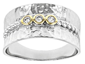 Pre-Owned White Cubic Zirconia Rhodium And 14K Yellow Gold Over Sterling Silver Ring 0.18ctw