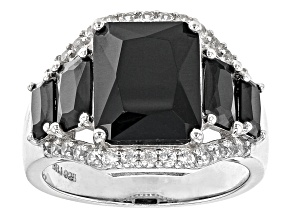 Pre-Owned Black Spinel Rhodium Over Sterling Silver Ring 7.07ctw