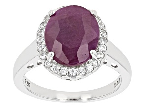 Pre-Owned Oval Indian Ruby Rhodium Over Sterling Silver Halo Ring 5.27ctw