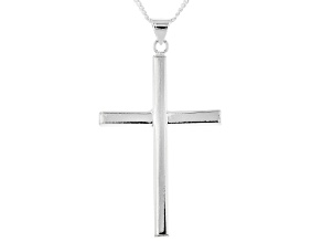Pre-Owned Sterling Silver Cross Pendant with 18 Inch Curb Chain