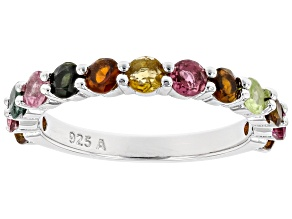 Pre-Owned Multi Color Tourmaline Rhodium Over Sterling Silver Ring 1.45ctw