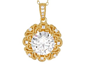 Pre-Owned Cubic Zirconia 18k Yellow Gold Over Sterling Silver Pendant With Chain 4.28ctw