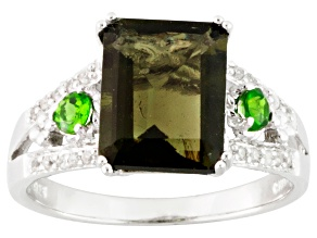 Pre-Owned Green Moldavite Sterling Silver Ring 2.40ctw