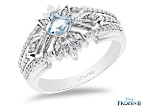 Pre-Owned Enchanted Disney Elsa Snowflake Band Ring Sky Blue Topaz & White Diamond Rhodium Over Silv