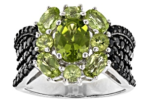 Pre-Owned Green Peridot Rhodium Over Sterling Silver Ring 3.35ctw