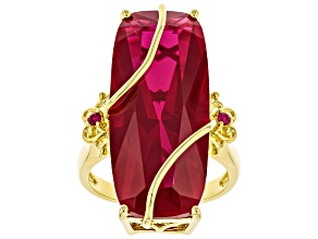 Pre-Owned Red Lab Created Ruby 18k Yellow Gold Over Sterling Silver 3-stone Ring 21.43ctw