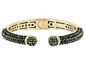 Pre-Owned Gold Tone Green Crystal Cuff Bracelet
