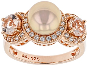 Pre-Owned Cultured Freshwater Pearl With Morganite And Zircon 18k Rose Gold Over Silver Ring