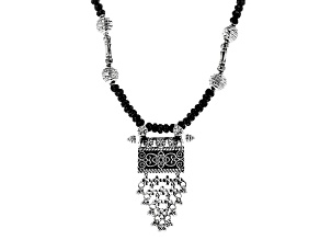Pre-Owned Black Spinel Sterling Silver Necklace 151.00ctw