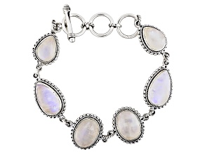 Pre-Owned White Rainbow Moonstone Sterling Silver Bracelet