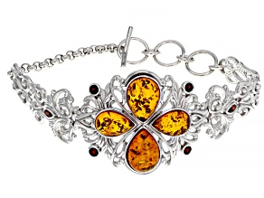 Pre-Owned Orange Polish Amber And Garnet Sterling Silver Bracelet 1.00ctw