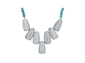 Pre-Owned Blue Chalcedony Sterling Silver Necklace