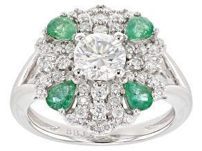 Pre-Owned Moissanite And Emerald Platineve Ring 1.32ctw DEW