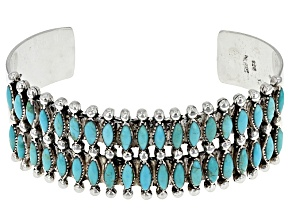 Pre-Owned Turquoise Kingman Silver Cuff Bracelet