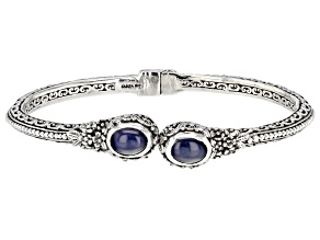 Pre-Owned Star Sapphire Cabochon Silver Bangle Bracelet 6.12ctw