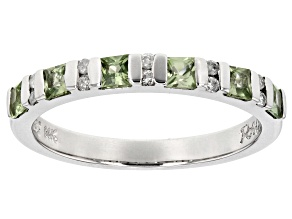 Pre-Owned Green Sapphire And White Diamond 14k White Gold Ring .74ctw