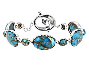 Pre-Owned Turquoise Kingman Mohave Silver Bracelet