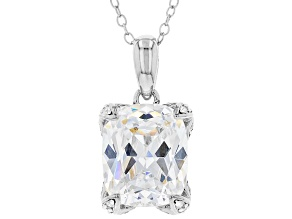 Pre-Owned White Cubic Zirconia Platinum Over Sterling Silver Pendant With Chain 12.21ctw