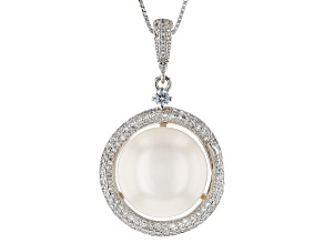 Pre-Owned White Cultured Freshwater Pearl & Cubic Zirconia 1.03ctw Rhodium Over Sterling Silver Pend