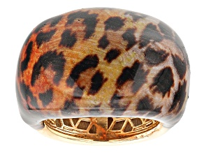 Pre-Owned Moda Al Massimo™ 18K Yellow Gold Over Bronze Dome Enamel Leopard Ring