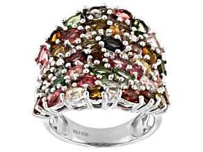 Pre-Owned Multi-Color Tourmaline Rhodium Over Silver Ring 5.75ctw