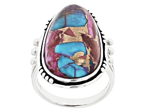 Pre-Owned Blended Purple Spiny Oyster with Turquoise Rhodium Over Silver Ring